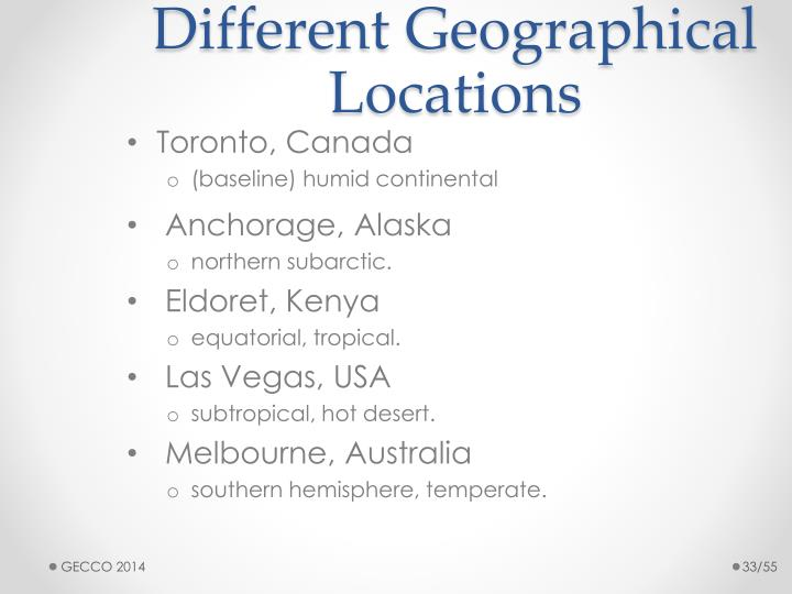 Different Geographical Locations