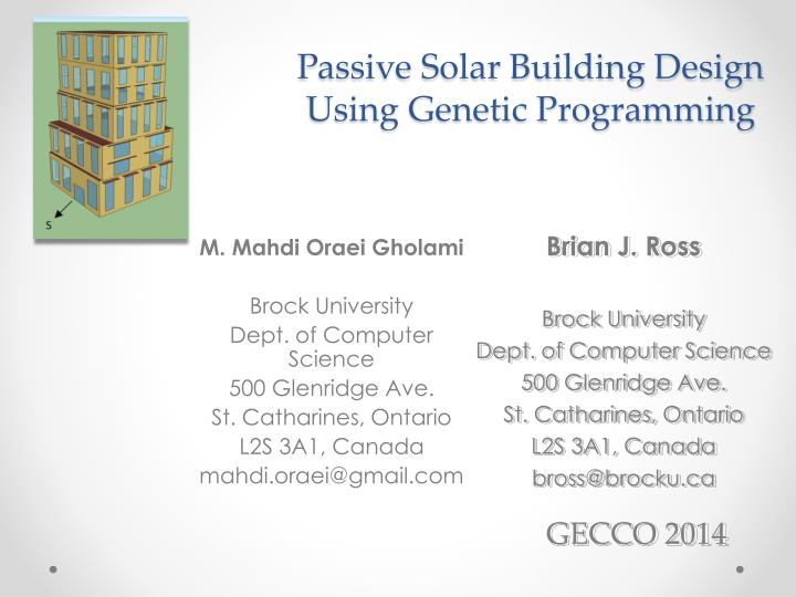 Passive Solar Building Design Using Genetic Programming