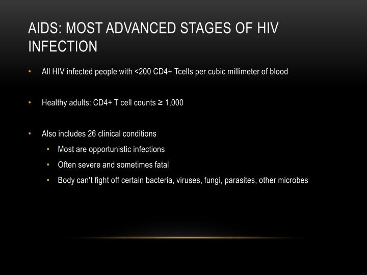 AIDs: Most advanced stages of