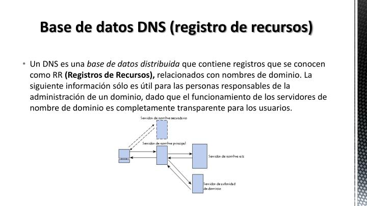 Base de datos DNS (registro de recursos)