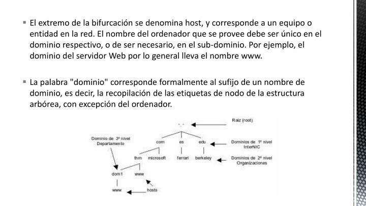 El extremo de la bifurcación se denomina host, y corresponde a un equipo o entidad en la red. El nombre del ordenador que se provee debe ser único en el dominio respectivo, o de ser necesario, en el sub-dominio. Por ejemplo, el dominio del servidor Web por lo general lleva el nombre www.