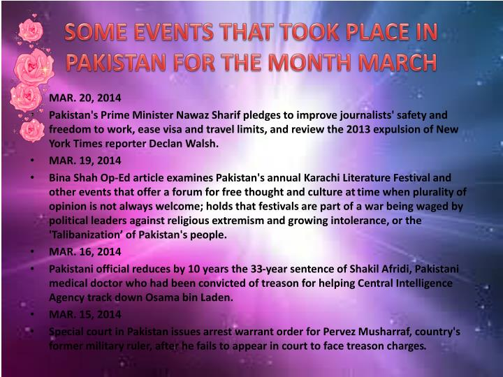 SOME EVENTS THAT TOOK PLACE IN PAKISTAN FOR THE MONTH MARCH