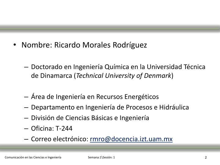 Nombre: Ricardo Morales Rodríguez