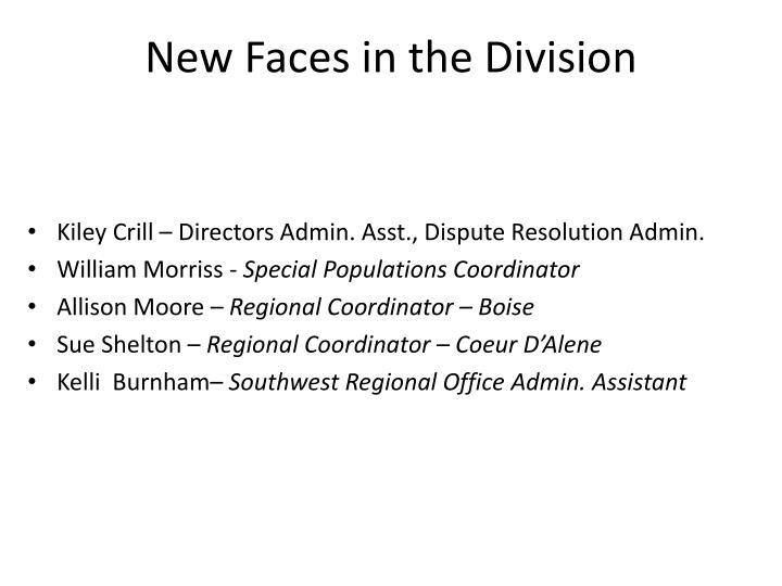 New faces in the division