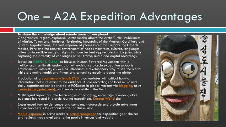 One – A2A Expedition Advantages