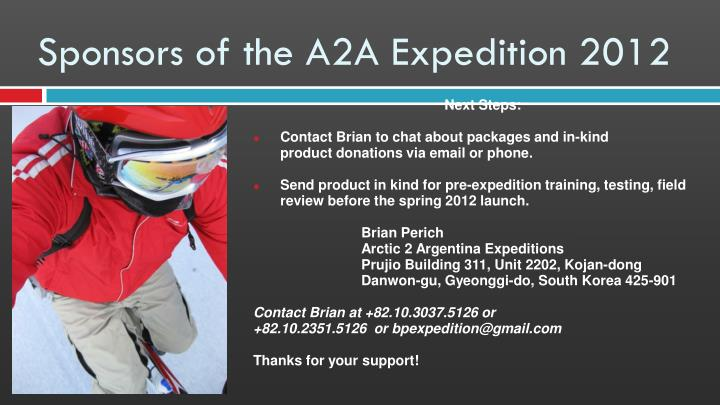 Sponsors of the A2A Expedition 2012