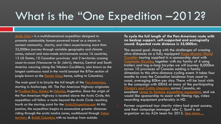 What is the one expedition 2012