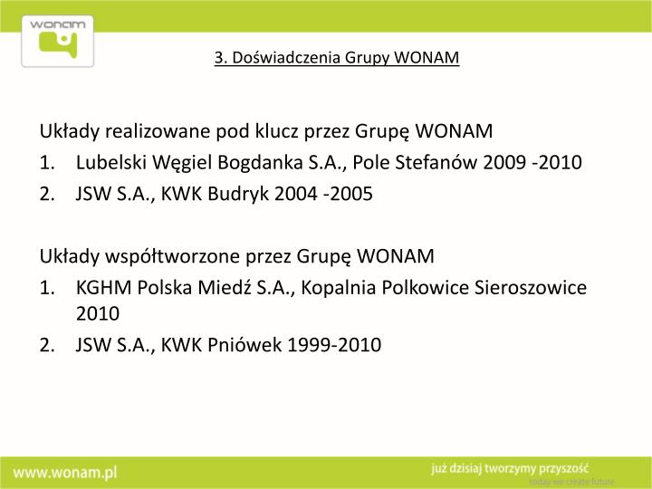 3. Doświadczenia Grupy WONAM