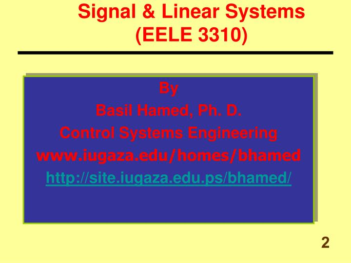 Signal & Linear Systems