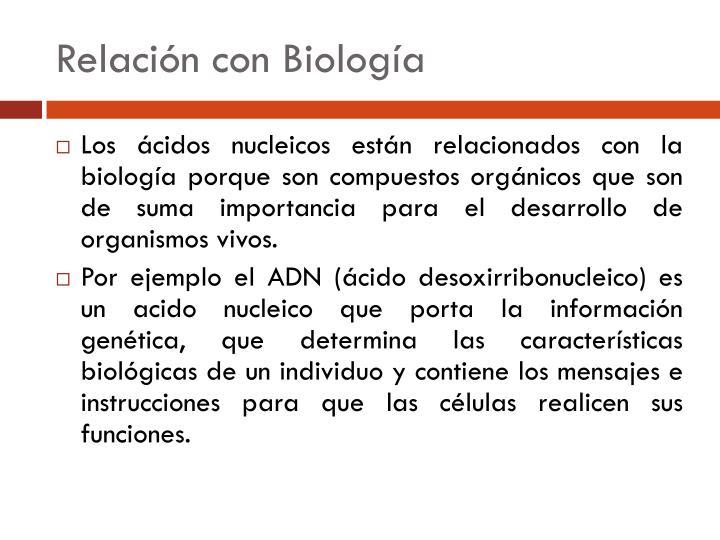 Relación con Biología