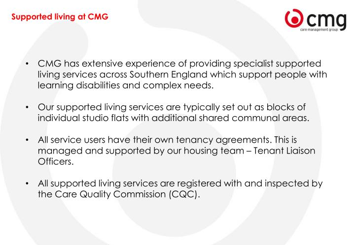 Supported living at CMG