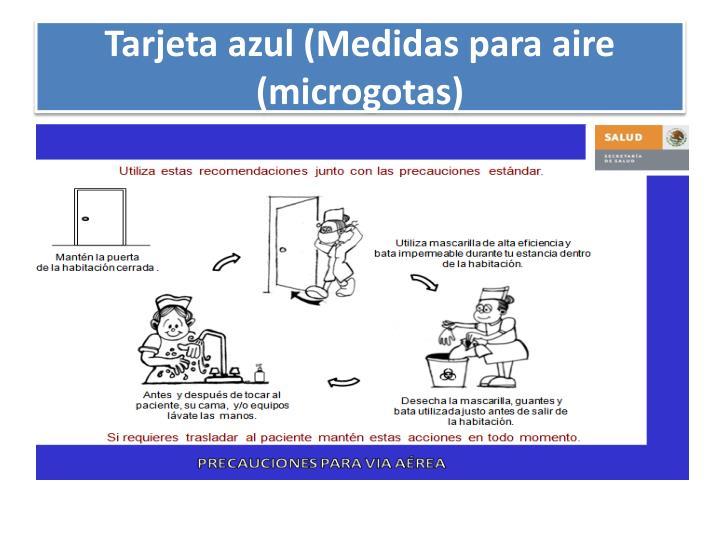Tarjeta azul (Medidas para aire (microgotas)