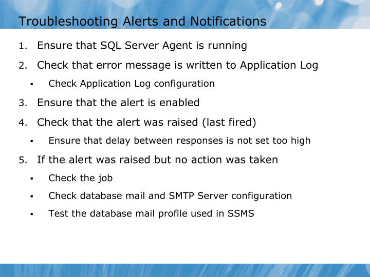 Troubleshooting Alerts and Notifications