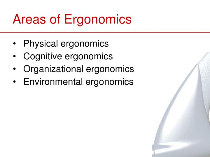 Areas of Ergonomics