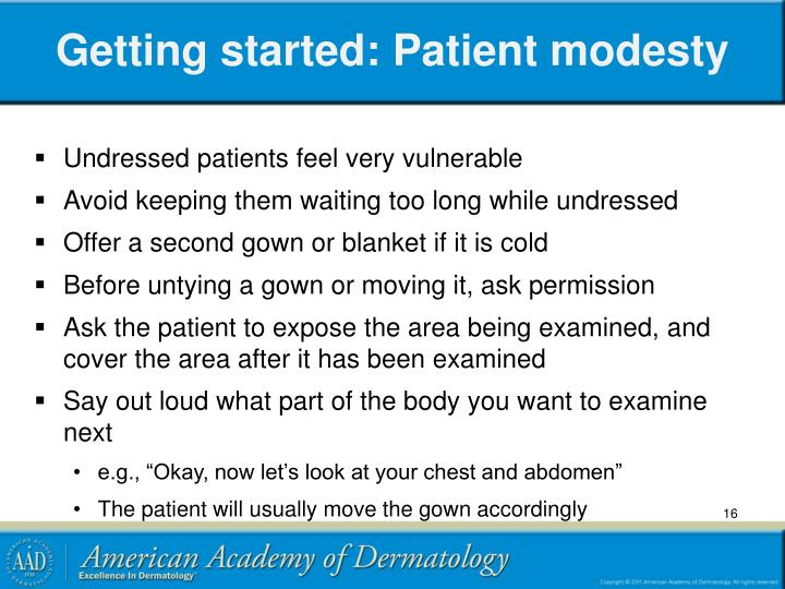 Getting started: Patient modesty