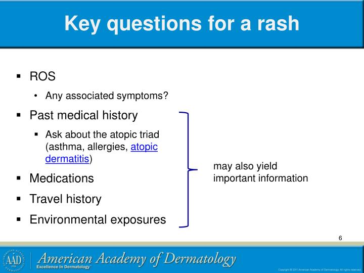 Key questions for a rash