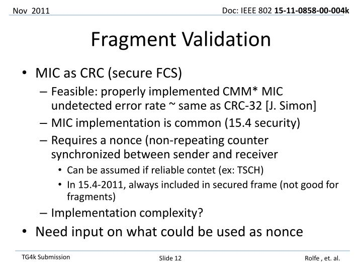 MIC as CRC (secure FCS)