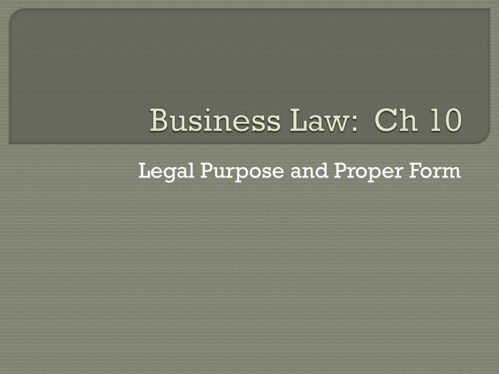 Business law ch 10