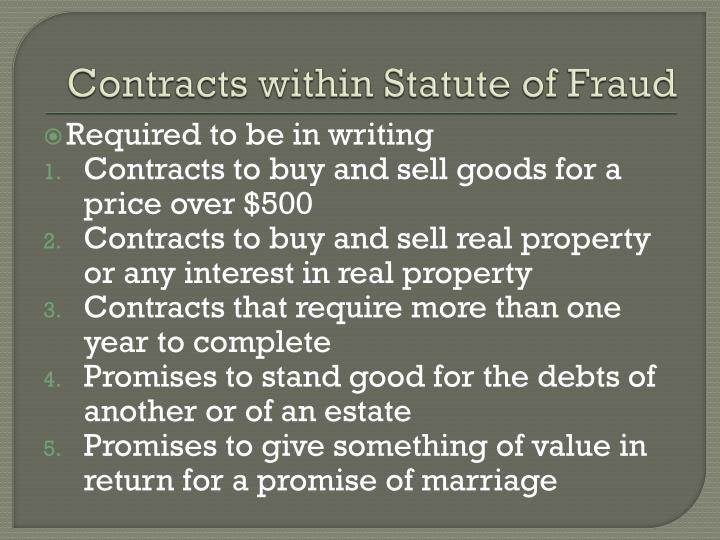 Contracts within Statute of Fraud