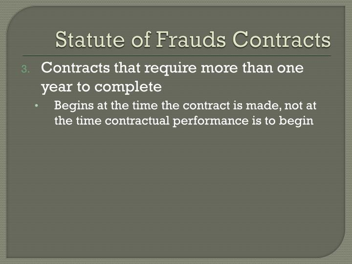 Statute of Frauds Contracts