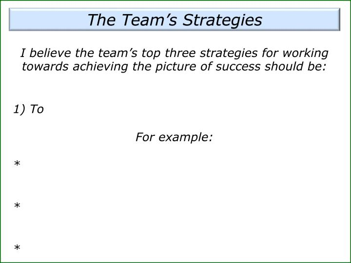 The Team's Strategies