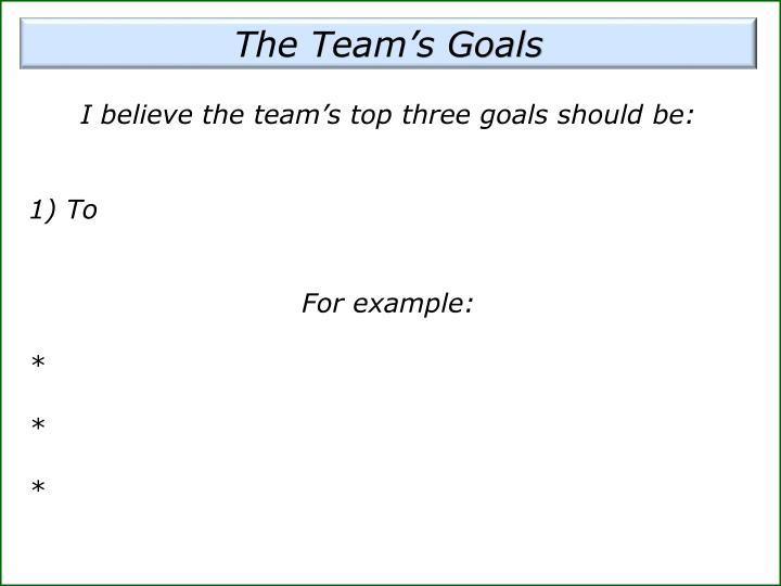 The Team's Goals