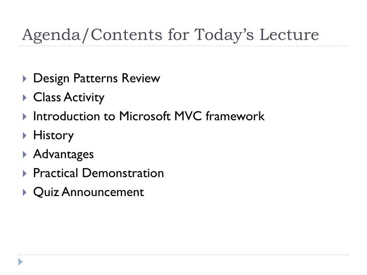 Agenda/Contents for Today's Lecture