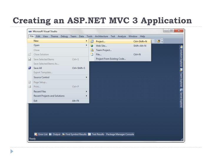 Creating an ASP.NET MVC 3 Application