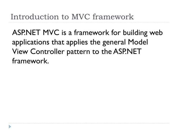 Introduction to MVC framework