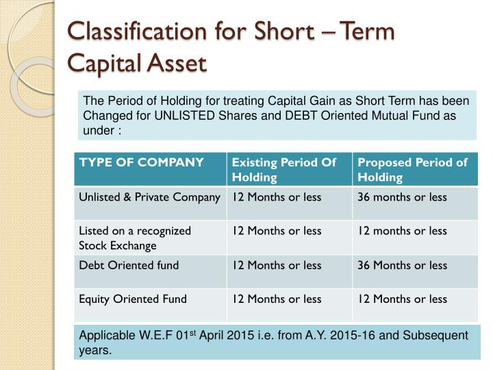 Classification for Short – Term Capital Asset