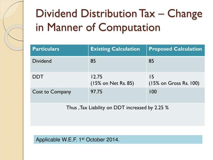 Dividend Distribution Tax – Change in Manner of Computation