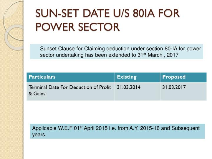 SUN-SET DATE U/S 80IA FOR POWER SECTOR