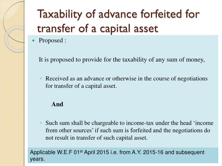 Taxability of advance forfeited for transfer of a capital asset