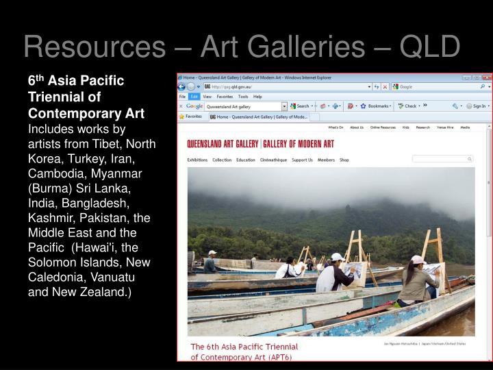 Resources – Art Galleries – QLD