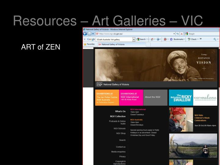 Resources – Art Galleries – VIC