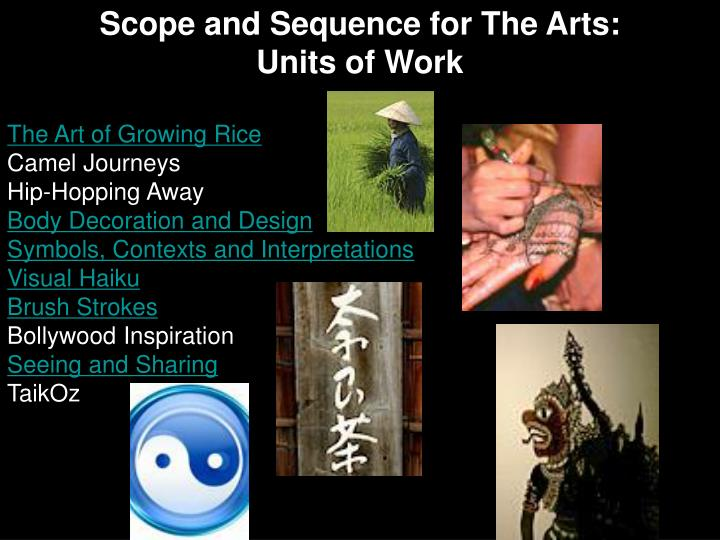Scope and Sequence for The Arts: