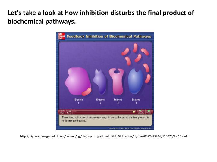 Let's take a look at how inhibition disturbs the final product of biochemical pathways.