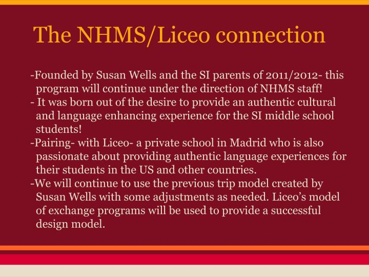 The nhms liceo connection