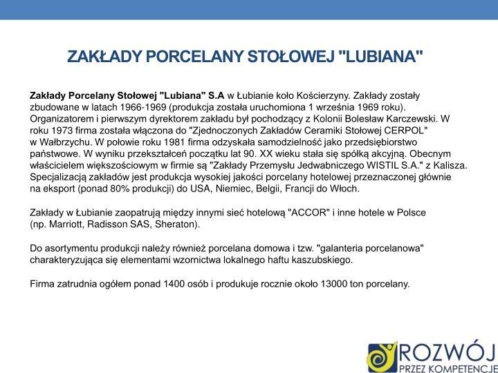 """Zakłady Porcelany Stołowej """"Lubiana"""""""