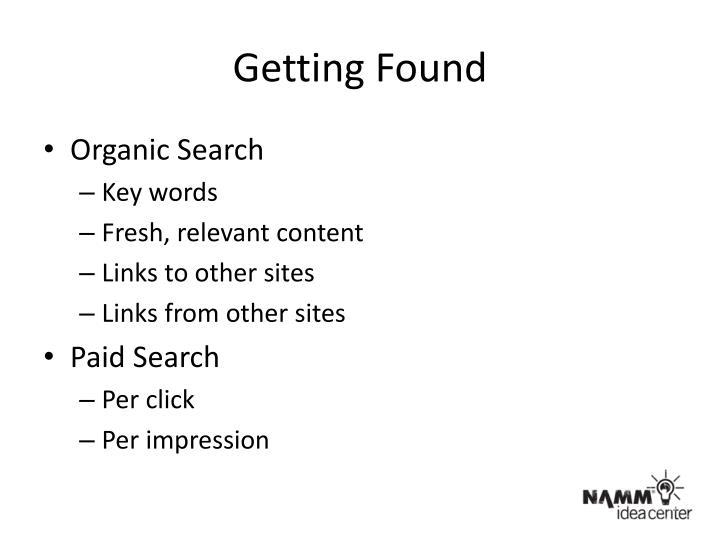 Getting Found