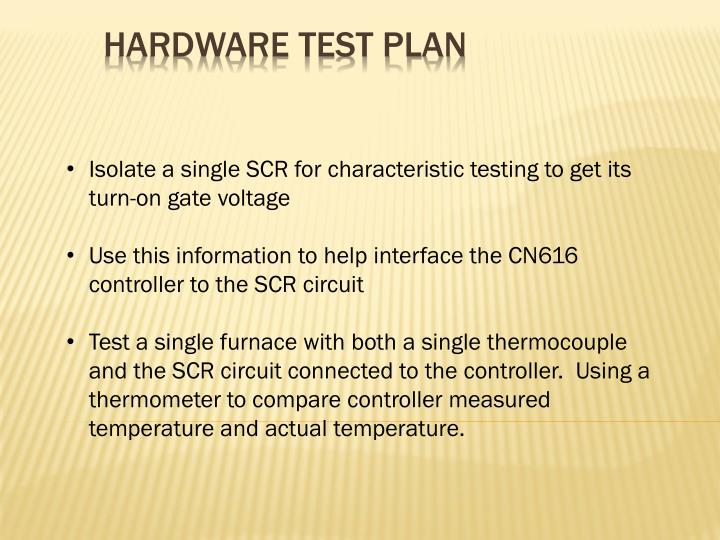 Isolate a single SCR for characteristic testing to get its turn-on gate voltage