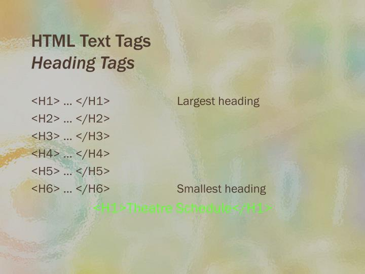 HTML Text Tags