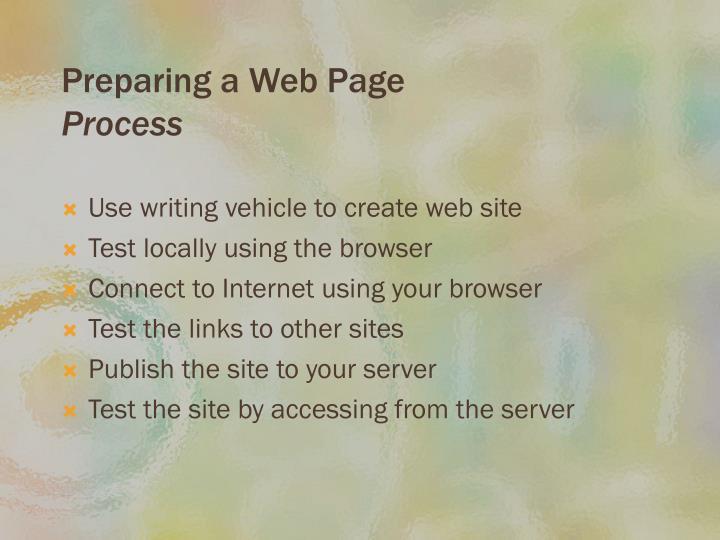 Preparing a Web Page