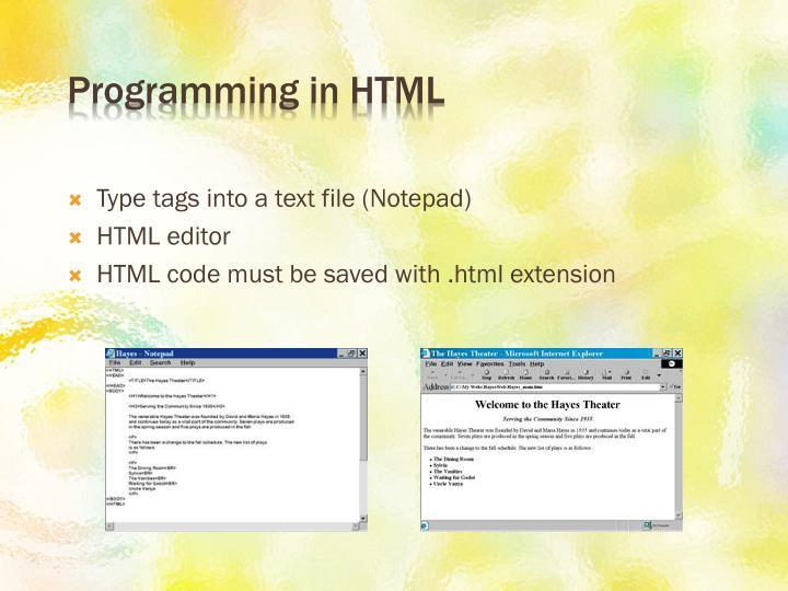 Programming in HTML
