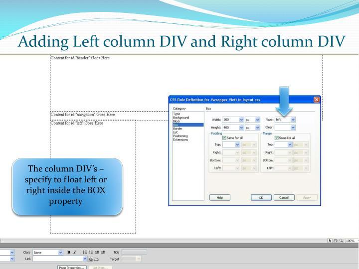 Adding Left column DIV and Right column DIV