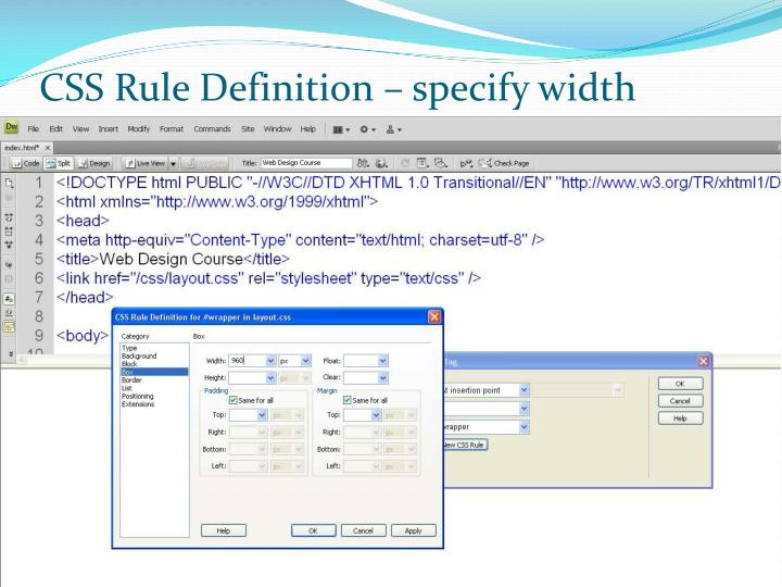 CSS Rule Definition – specify width