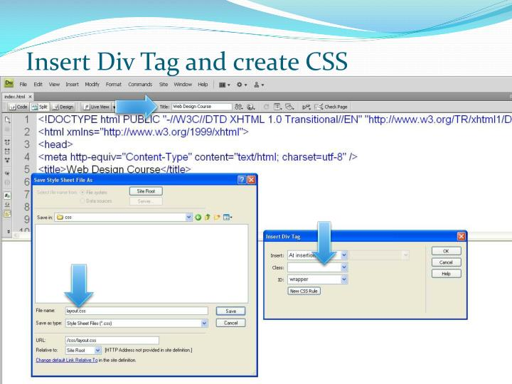 Insert Div Tag and create CSS