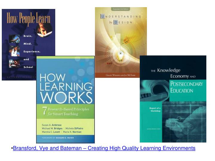 Bransford, Vye and Bateman – Creating High Quality Learning Environments