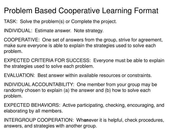 Problem Based Cooperative Learning Format