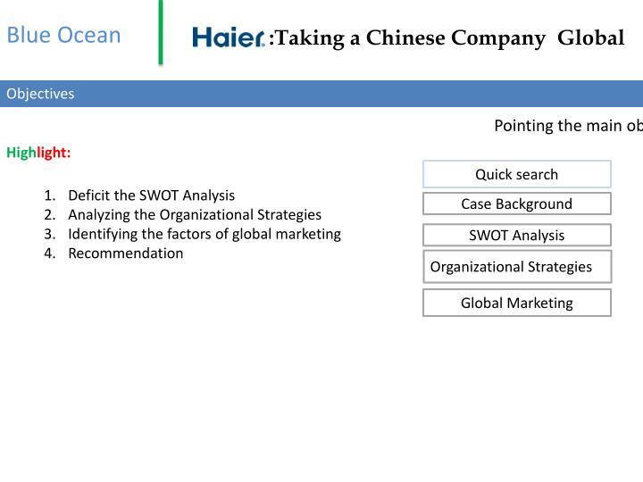 haier taking a chinese company global Haier: taking a chinese company global group: 9 hunny agarwal (102) hakim datawala (115) g h krishna (118) sushant mondal (137) abhishek parekh (142) anirban sengupta (150).